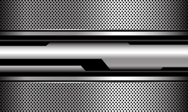 Abstrakter silberner schwarzer kreis cyber geometrischer kreismasche futuristischer technologievektorhintergrund