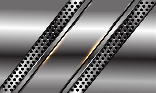 Abstrakter silberner schwarzer linien-schrägstrich auf dem modernen luxus-futuristischen hintergrund des kreisnetzdesigns.