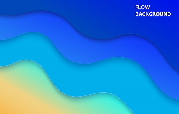 Abstrakter sommerhintergrund des blauen meeres und des strandes mit papierwellen. geschnittener papierstil. vektor