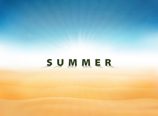 Abstrakter sommerhintergrund mit sonne sprengte blauen himmel auf wüste