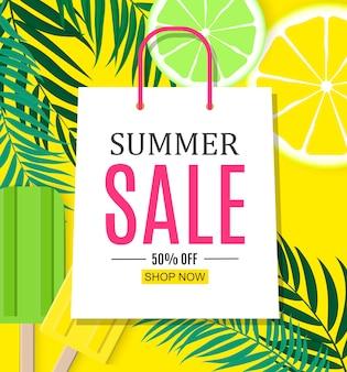 Abstrakter sommerschlussverkauf mit einkaufstasche.