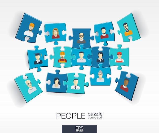 Abstrakter sozialer hintergrund mit verbundenen farbrätseln, integrierten symbolen. infografik-konzept mit personen-, technologie-, netzwerk- und medienstücken in der perspektive. interaktive illustration