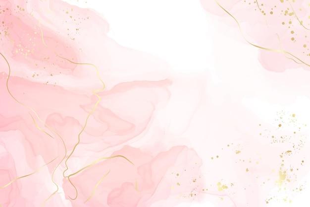 Abstrakter staubiger, flüssiger aquarellhintergrund mit goldenen rissen