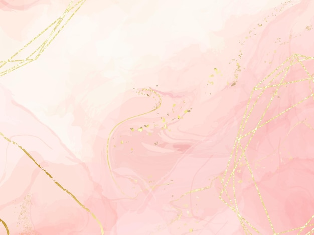 Abstrakter staubiger rosa flüssiger aquarellhintergrund mit goldenen polygonalen linien