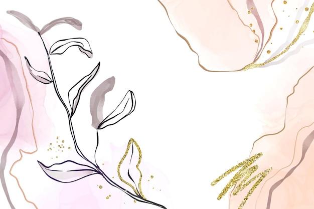 Abstrakter staubiger rosa und errötender flüssiger aquarellhintergrund mit zweig- und goldfolienelementen