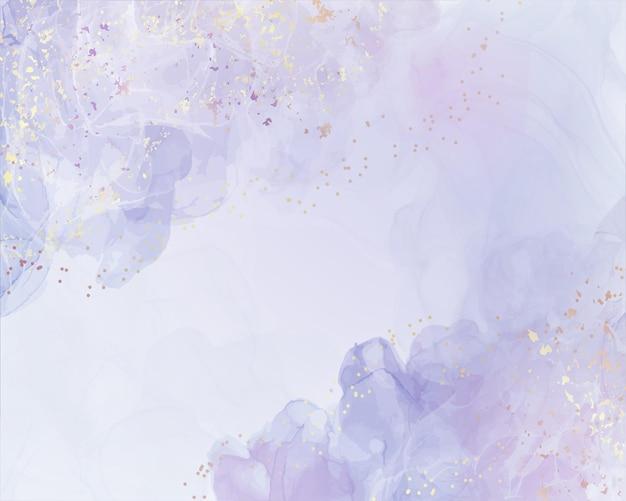 Abstrakter staubiger violetter flüssiger aquarellhintergrund mit goldenem funkelnspritzen