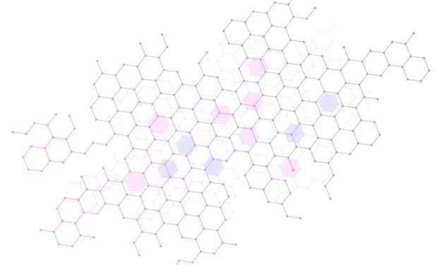 Abstrakter steigungsverbindungssechskanthintergrund. vektor-illustration. muster für werbespots.