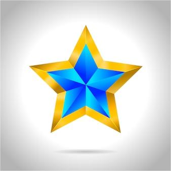 Abstrakter stern. überlagerte sternform in blau