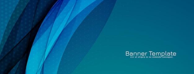 Abstrakter stilvoller blauer wellenförmiger designfahnenschablonenvektor