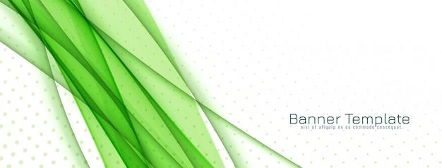 Abstrakter stilvoller grüner wellenfahnenentwurf