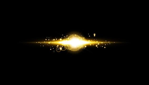 Abstrakter stilvoller lichteffekt auf einem schwarzen hintergrund. gold leuchtende neonlinie. goldener leuchtender staub und blendungen. blitzlicht. leuchtende spur.