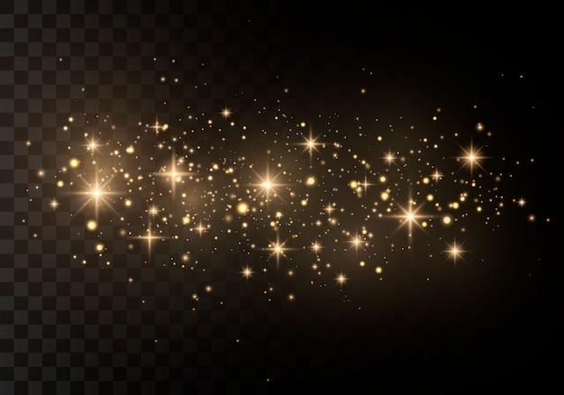 Abstrakter stilvoller lichteffekt auf einem schwarzen transparenten hintergrund. gelber staub, gelbe funken und goldene sterne leuchten mit besonderem licht. funkelt funkelnde magische staubpartikel.