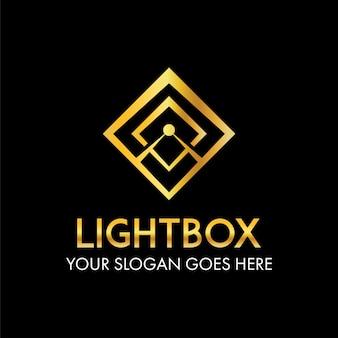Abstrakter strahl des sonnenlichts auf kastenrahmen-logokonzept