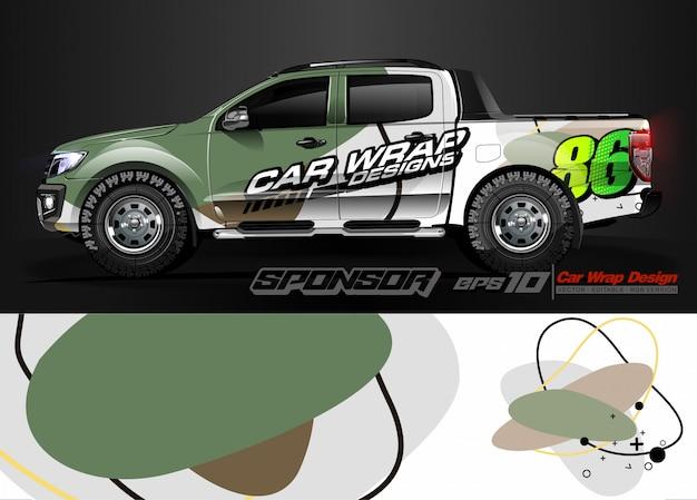 Abstrakter streifen und hintergrund des autoverpackungsgrafikrennens für autoverpackung und vinylaufkleber - vektor