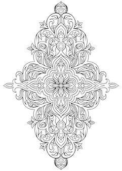 Abstrakter symmetrischer blumendekor mit niederlassungen und blättern