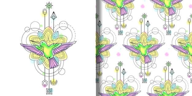 Abstrakter techno-aquarelldruck und nahtloses muster mit colibri-mandala und geometrischen elementen