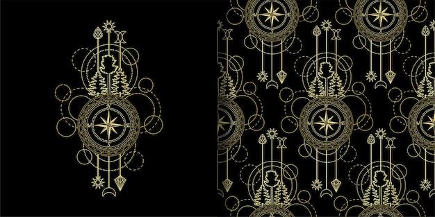 Abstrakter techno-druck und nahtloses muster mit goldenen kompassbäumen und geometrischen elementen