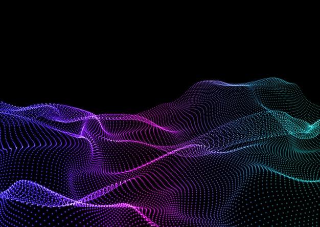 Abstrakter technohintergrund mit fließendem teilchendesign