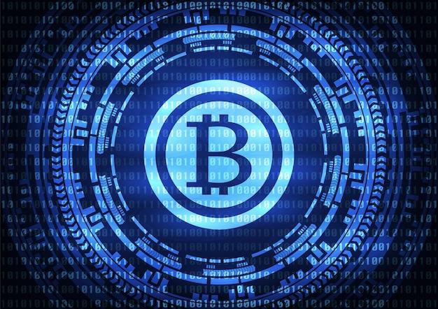 Abstrakter technologie bitcoins logo-blauhintergrund.