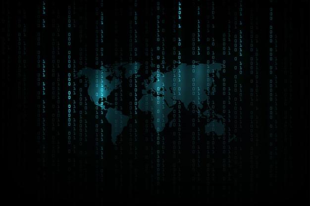 Abstrakter technologie-hintergrund. hacker-konzept, programmiercodierung, binärer computercode. matrix-hintergrundstil.