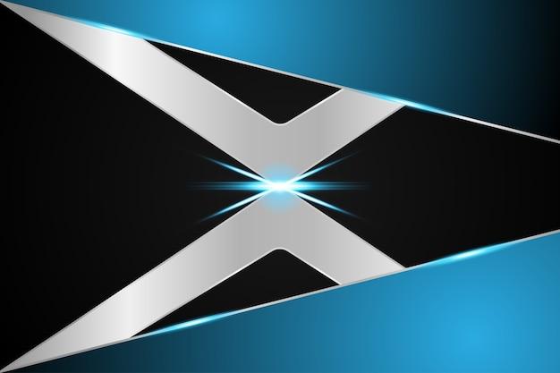 Abstrakter technologie hintergrund x symbol metallic blau auf hallo tech future design