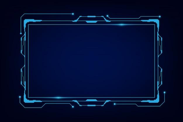 Abstrakter technologie-sciencefiction-hologrammrahmen-schablonen-designhintergrund