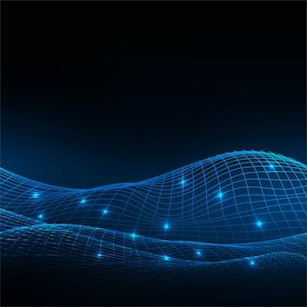 Abstrakter technologiedraht-wellenblauhintergrund