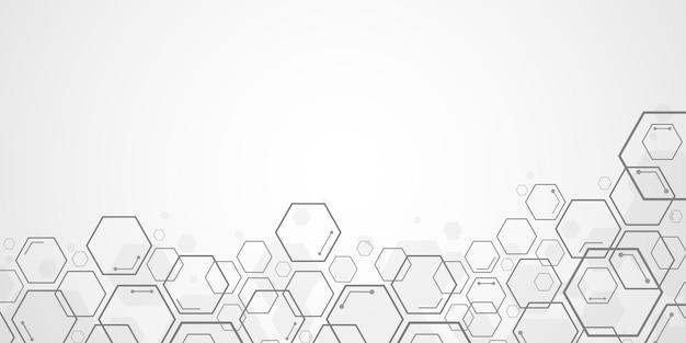 Abstrakter technologiehexagonhintergrund mit leerzeichen