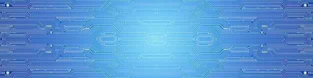Abstrakter technologiehintergrund, blaues leiterplattenmuster, mikrochip, stromleitung
