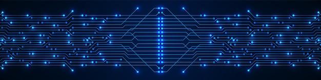 Abstrakter technologiehintergrund blaues leiterplattenmuster mit elektrischem licht-mikrochipstromleitung