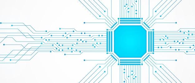 Abstrakter technologiehintergrund, blaues leiterplattenmuster und mikrochip