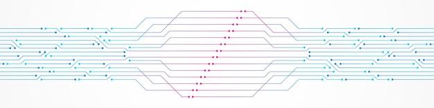 Abstrakter technologiehintergrund bunter rosa und blauer steigungsleiterplattenmuster-mikrochip