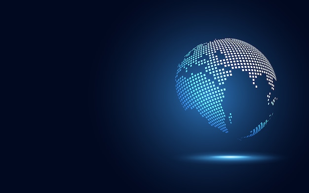Abstrakter technologiehintergrund der kugel digitaler umwandlung