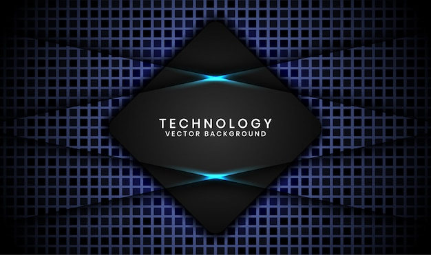 Abstrakter technologiehintergrund der schwarzen raute 3d mit dem gelegentlichen quadrat gemasert, deckungsschichten mit blaulichteffektdekoration