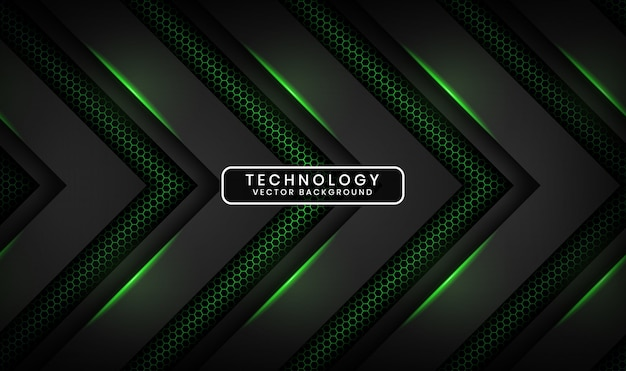 Abstrakter technologiehintergrund des schwarzen 3d mit dem hexagon gemasert, deckungsschicht mit grüner lichteffektdekoration
