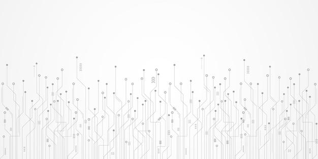 Abstrakter technologiehintergrund, digitale pfeilbeschleunigung und leiterplattenmuster, mikrochip, stromleitung, leerstelle