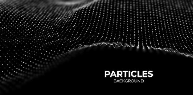 Abstrakter technologiehintergrund digitale weiße partikelwelle visualisierung der klangstruktur
