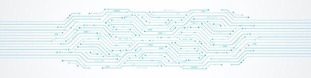 Abstrakter technologiehintergrund digitaler pfeil beschleunigen und blaues leiterplattenmuster microchipl