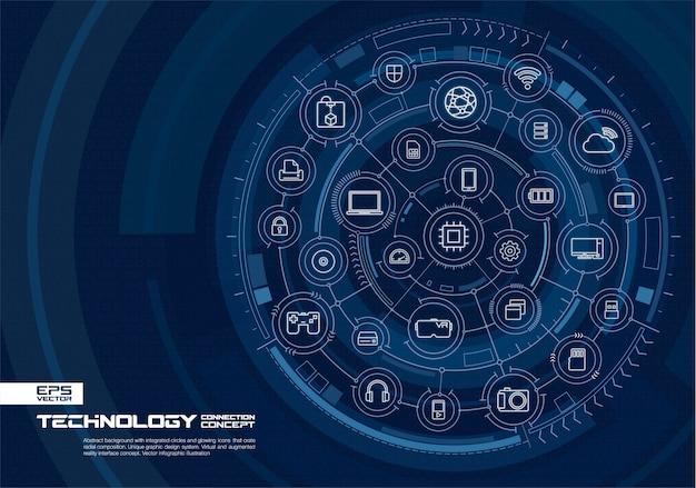 Abstrakter technologiehintergrund. digitales verbindungssystem mit integrierten kreisen und leuchtenden symbolen für dünne linien. konzept der virtuellen augmented-reality-schnittstelle. zukünftige infografik illustration