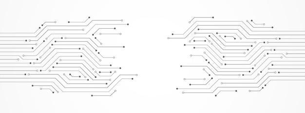 Abstrakter technologiehintergrund, graues leiterplattenmuster, mikrochip, stromleitung, leerstelle