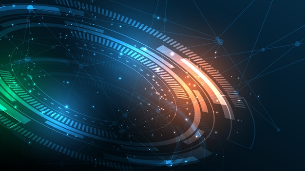 Abstrakter technologiehintergrund hi-tech-kommunikationskonzept-innovationshintergrund