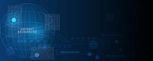Abstrakter technologiehintergrund, illustration, innovation des hi-tech-kommunikationskonzepts