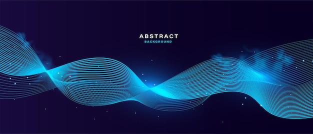Abstrakter technologiehintergrund mit blau leuchtendem partikel