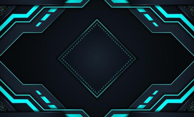 Abstrakter technologiehintergrund mit dunklen marine- und blauen neonstreifen.