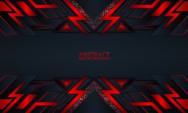 Abstrakter technologiehintergrund mit dunklen marine- und roten glühstreifen-vektorillustration