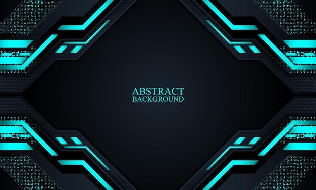 Abstrakter technologiehintergrund mit dunklen marineblauen und blauen neonstreifen vektorillustration