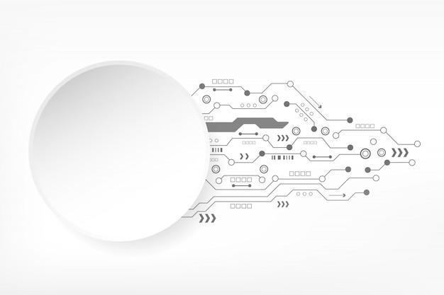 Abstrakter technologiehintergrund mit futuristischer leiterplatte und digitaler moderner innovation der verschiedenen elemente. hi-tech-konzept.