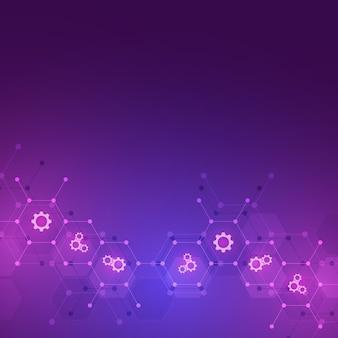 Abstrakter technologiehintergrund mit ikonen und symbolen. vorlage mit konzept und idee für innovationstechnologie, medizin, wissenschaft und forschung. illustration.