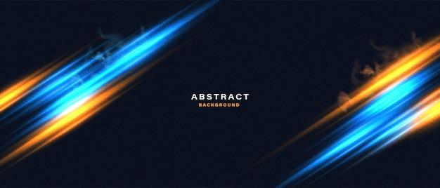 Abstrakter technologiehintergrund mit neonlichteffekt der bewegung