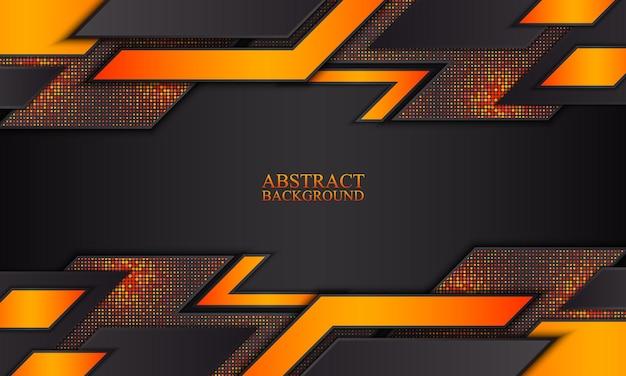 Abstrakter technologiehintergrund mit schwarzen und orangefarbenen streifen vektorillustration
